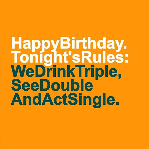 Birthday Rules card