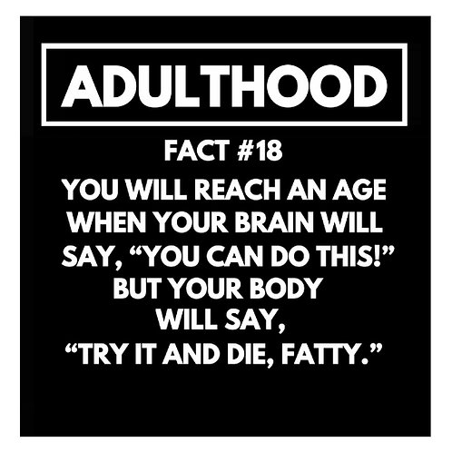 Adulthood Fact#18 card