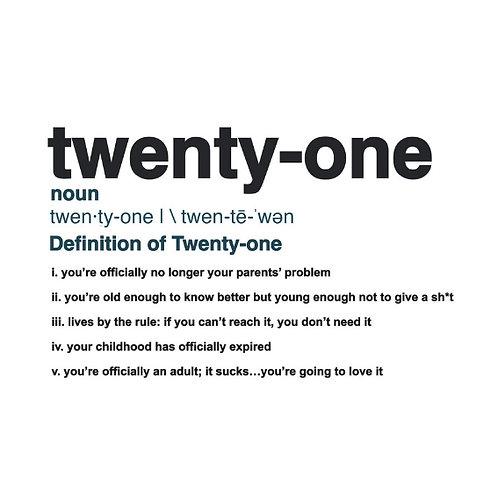 Twenty-One Definition card