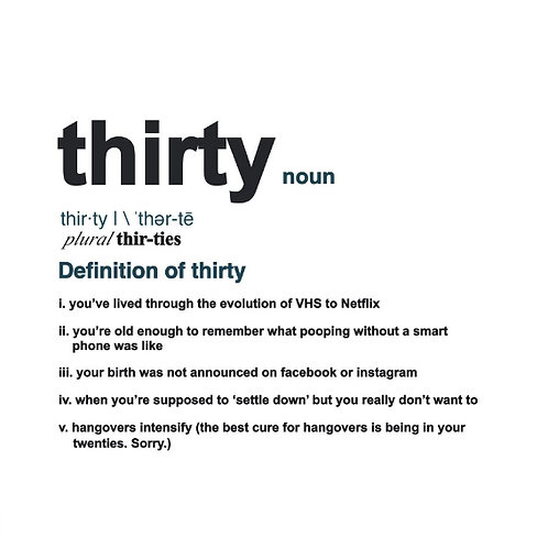 Thirty Definition card