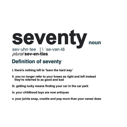Seventy Definition card