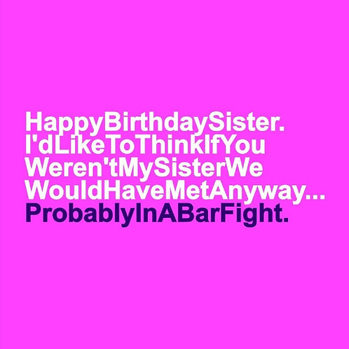 Sister Bar Fight card