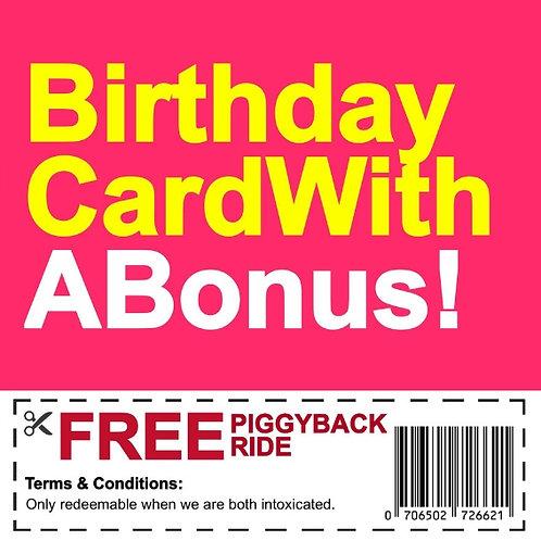 Birthday Piggyback Voucher card