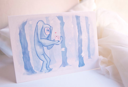 Yeti Bunny Love // Illustrated Winter Holiday Card // Abominable Snowman Card