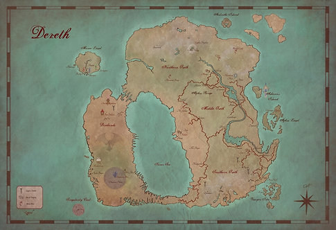 Map of Dereth- Asheron's Call Art Print- Antique Style Gamer Poster- Giclee Art