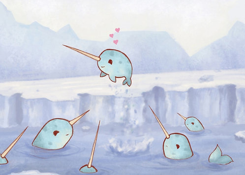 Narwhal Love // Adorable Giclee Art Print