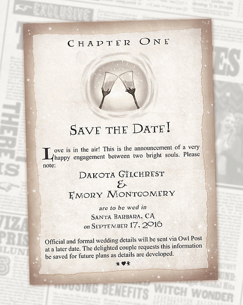 Harry Potter Save the Date Book Chapter // Digital Invitations