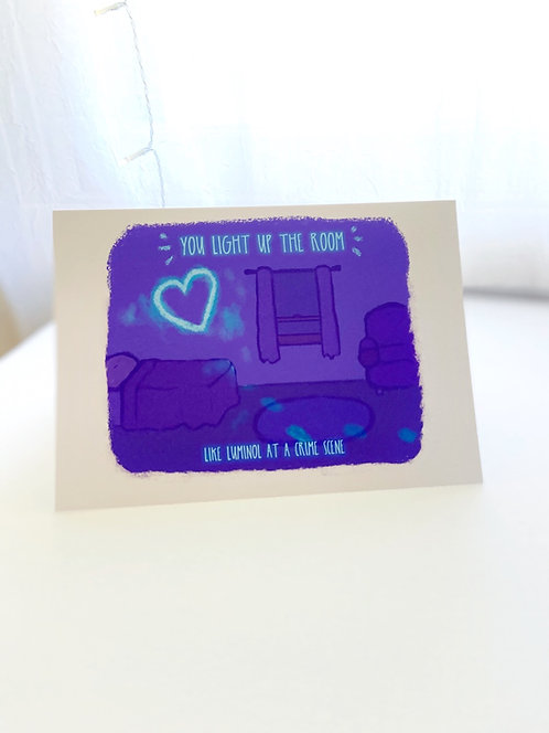 Love and Luminol // True Crime Lover // Dark Humor // Funny Love Card