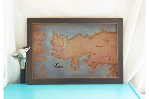 Map of Essos / Game of Thrones // Antique Style Map / GoT Home Decor- Geeky Art