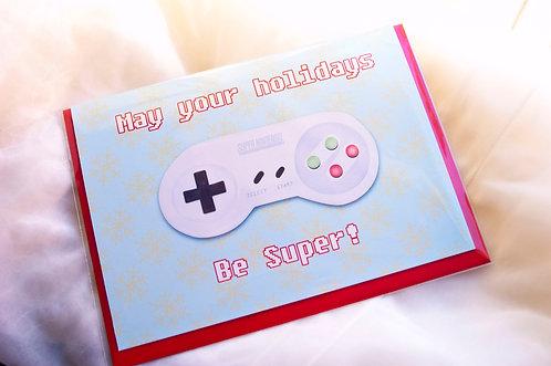 Super Nintendo Holiday // Geeky Holiday Card // Geeky Christmas // Gamer Holiday