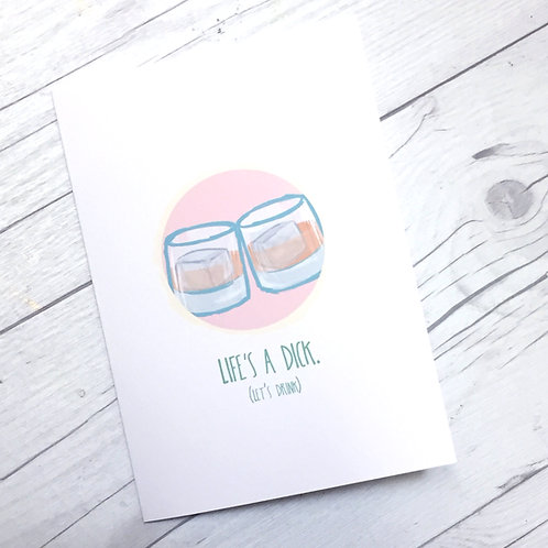 Life's a Dick // Adult Sympathy Greeting Card // Let's Drink // Funny Get Well /