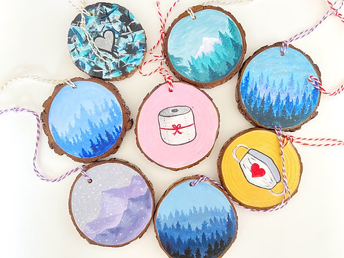Handpainted Wood Ornaments // Handmade Holiday Ornaments