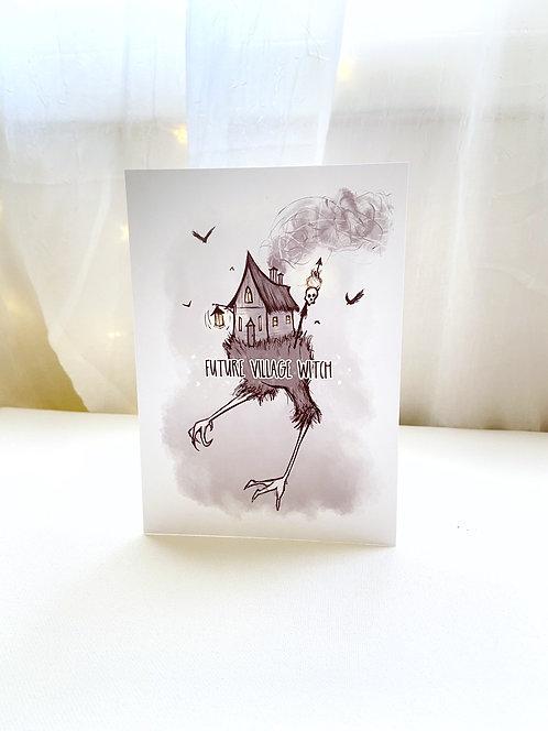 Future Village Witch // Baba Yaga // Funny Halloween Card