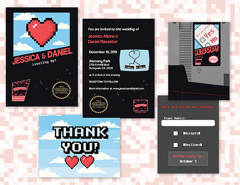 Video Game Wedding Invitations // Digital Invitations // Nintendo Wedding Invite
