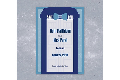 Doctor Who Save the Date // Printable Invite / Geeky Wedding Invite/ Doctor Who