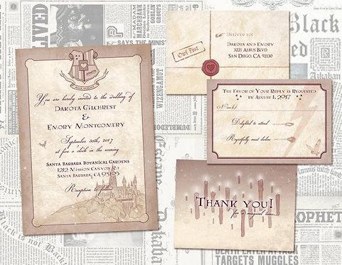 Harry Potter Wedding Invitation Set/ Geeky, Nerdy Offbeat Wedding/ Digital Files