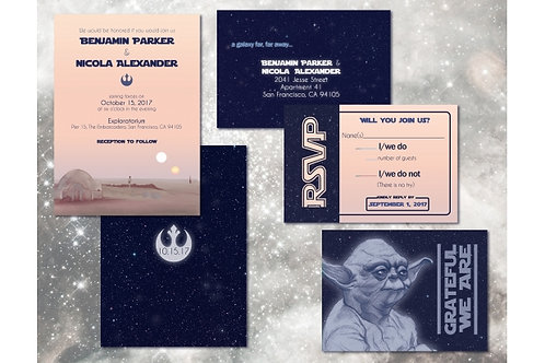 Star Wars Wedding Invitation Set // Custom Digital Invitations // Geeky Weddings