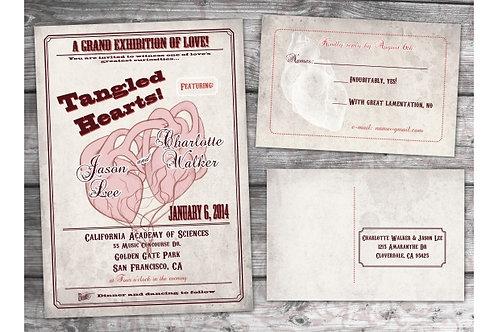 Tangled Hearts // Vintage Wedding Invitations/ Carnival Wedding/ Printable