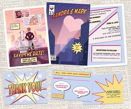 Bundle Save the Date Comic Book & Wedding Invitation Suite //