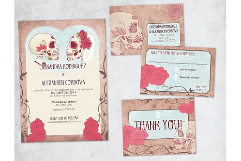 Dia de los Muertos Wedding Invitation Set // *Digital File* DIY Wedding Invites