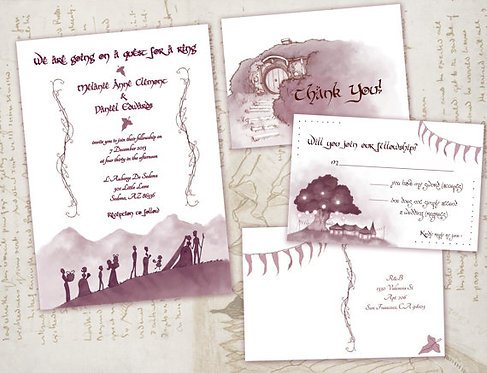 Lord of the Rings Wedding Invitations // Nerdy/Geeky Middle Earth Invitation Set