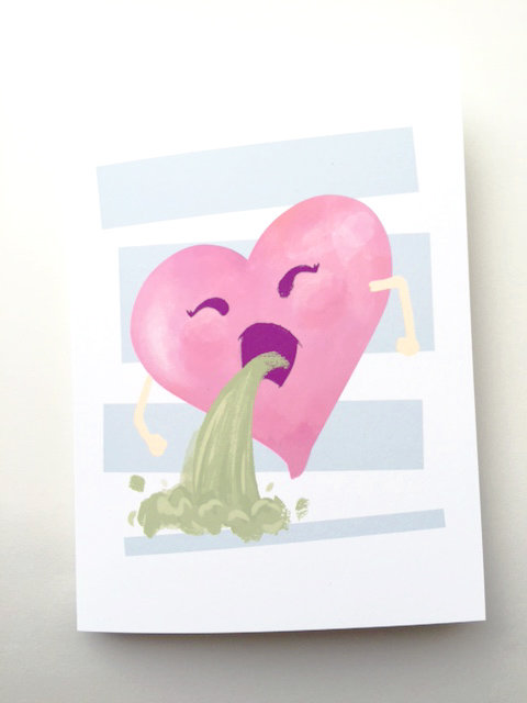 Puking Heart // Heartsick, Anti-Valentine, Cheeky Card