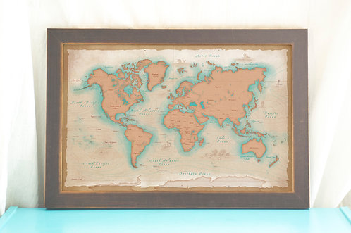 Vintage Style World Map - Nautical Cartography Print