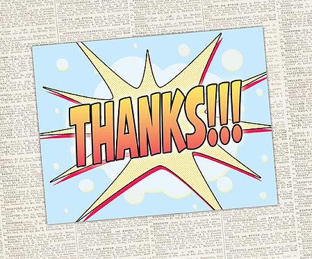 Comic Book Style Thank You Card // DIGITAL DOWNLOAD // Superhero Thank You Card