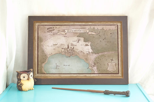 Castle Grounds Map // Hogwarts Print // Harry Potter Fan Art // Geeky Home Decor