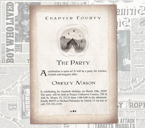 Harry Potter Birthday Invitation // Geeky Book Invite // Digital Invitations //