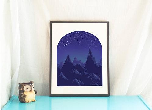 Starfall // Illustration // Landscape // Art Print // Home Decor
