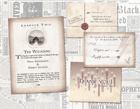 Harry Potter Chapter 2 Wedding Invite Set/ Geeky, Nerdy Wedding / Wizard Wedding