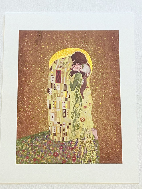 The Kiss Limited Edition Fine Art Print // Hand Painted Gold Leaf Embellishments