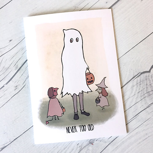 Never Too Old for Halloween // Greeting Card // Halloween Card // Ghost // Vinta