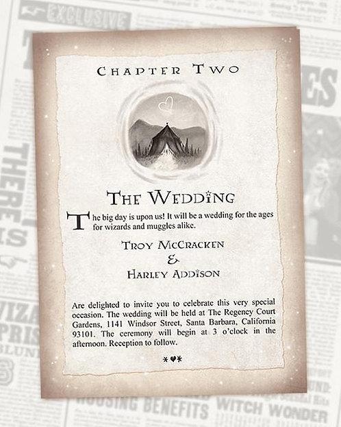 Harry Potter Digital Wedding Invitation // Chapter Invite // Digital Invitations