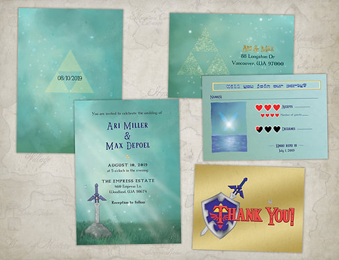Legend of Zelda Wedding Invitations // Digital Geeky Invitations //