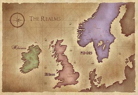 Dark Age of Camelot Map // DAoC World Map- Geeky Gamer Home Decor- Vintage Map