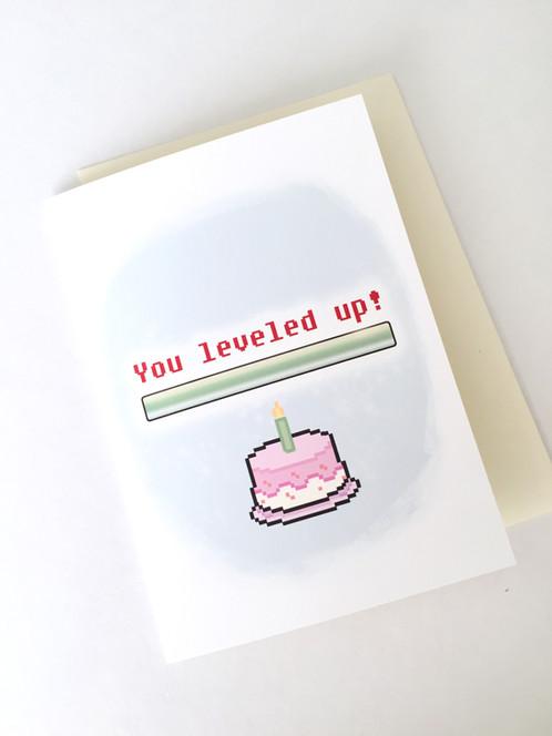 Level Up Birthday Card Geeky Birthday Card Gamer Greeting Card