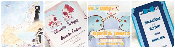 custom geeky wedding invitation designs