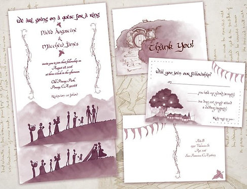 Same Sex Lord of the Rings Wedding /Invitations/ Nerdy/Geeky Middle Earth Invite