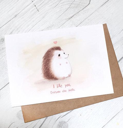 I Like You, Hedgehog Card // Introverted Hedgehog, Cute, Sassy, Honest Ca