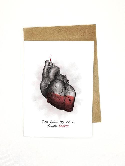 Fill My Black Heart // Funny Love Card // Anatomical Heart Dark