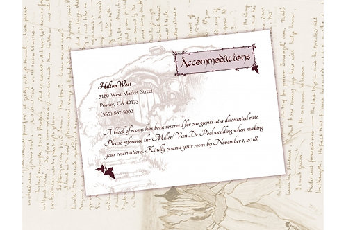 Lord of the Rings Accommodations Card //Digital LOTR Invite