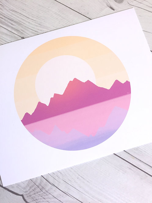 Mountains Sunset // Nature Illustration - Stillness