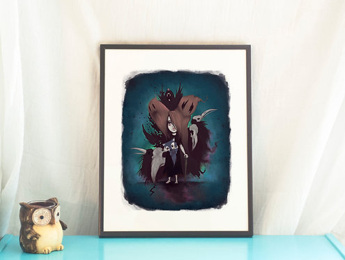Close Your Eyes // Dark Illustration/Art Print- 11x8.5in