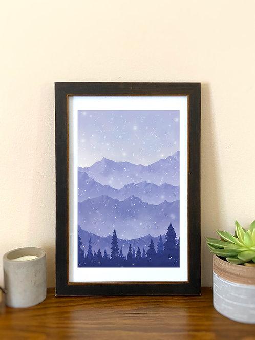 Wanderlust // Mountains (5) // Landscape Art // Purple Mountains Illustration