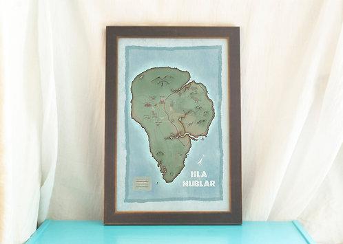 Isla Nublar Illustrated Map of - Vintage Style Map of Jurassic Park
