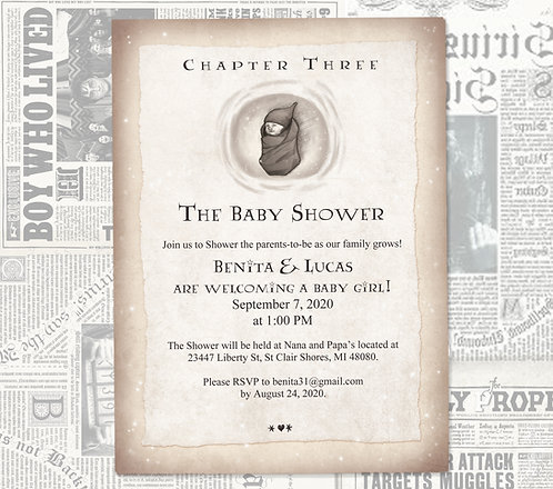 Harry Potter Baby Shower Invitation // Geeky Book Invite // Digital