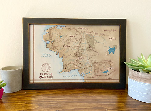 Map of Middle Earth // Tolkien Map / Geeky Home Decor / LOTR