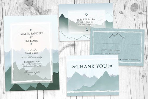 Mountain Wedding Invitations // Nature/Forest Wedding Invitation Set // Digital